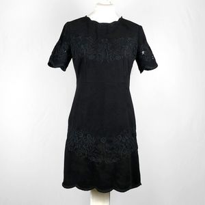 Zara Black Faux Suede Embroidery Dress Sz …